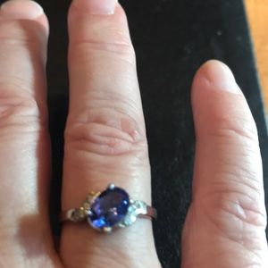 10KT White Gold Tanzanite and Diamond Ring